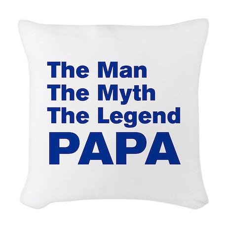 papa-akz-blue Woven Throw Pillow
