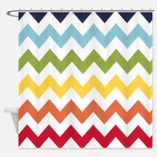 Classy rainbow chevron stripes Shower Curtain