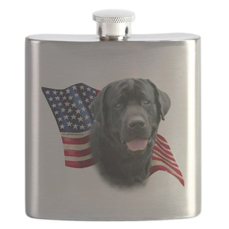 Black Lab Flag Flask
