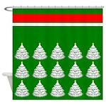 White Christmas Tree Pattern Shower Curtain
