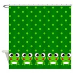 Cute Frogs and Polka Dots Shower Curtain