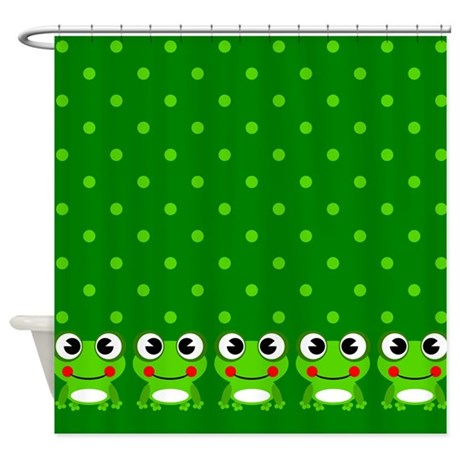 Cute Frogs And Polka Dots Shower Curtain By Stolenmomentsph