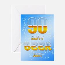 90th birthday beer Greeting Card