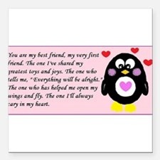 "Frienship Penguin Square Car Magnet 3"" x 3"""