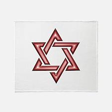 Star of David Metallic Red Throw Blanket