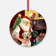 Santa's Yellow + Black Labs Ornament (Round)