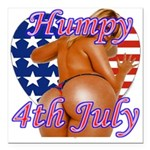 Humpy July 4th Square Car Magnet 3