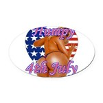 Humpy July 4th Oval Car Magnet
