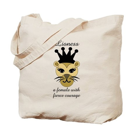 Lioness: a female with fierce courage Tote Bag
