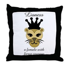 Lioness: a female with fierce courage Throw Pillow