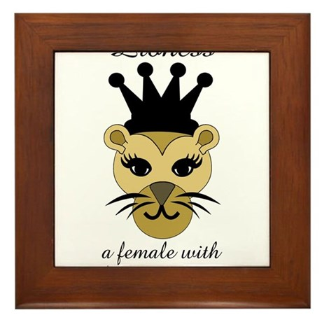 Lioness: a female with fierce courage Framed Tile