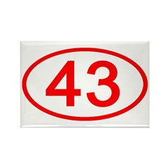 Number 43 Oval Rectangle Magnet (100 pack)
