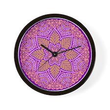 purple mandala Wall Clock
