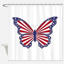 Patriotic Butterfly Shower Curtain