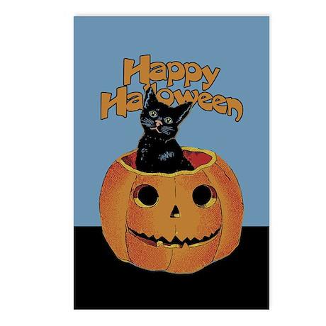 Vintage Halloween Cat In Pumpkin Postcards (Packag