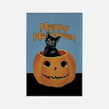 Vintage Halloween Cat In Pumpkin Rectangle Magnet