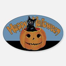 Vintage Halloween Cat In Pumpkin Decal