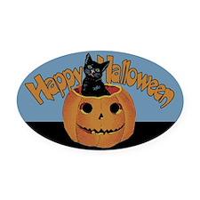 Vintage Halloween Cat In Pumpkin Oval Car Magnet