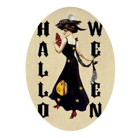 Vintage Halloween Lady Ornament (Oval)