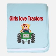 Girls love Tractors baby blanket