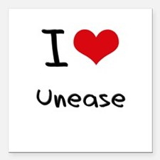 "I love Unease Square Car Magnet 3"" x 3"""