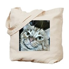 Tabby Cat Portrait in Blue Hue Tote Bag