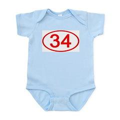 Number 34 Oval Infant Bodysuit