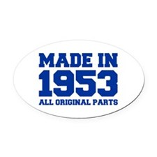 made-in-1953-fresh-blue Oval Car Magnet