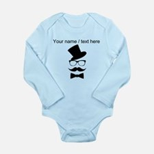 Personalized Mustache Face With Top Hat Body Suit