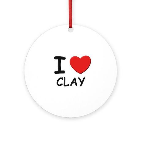 I love Clay Ornament (Round)