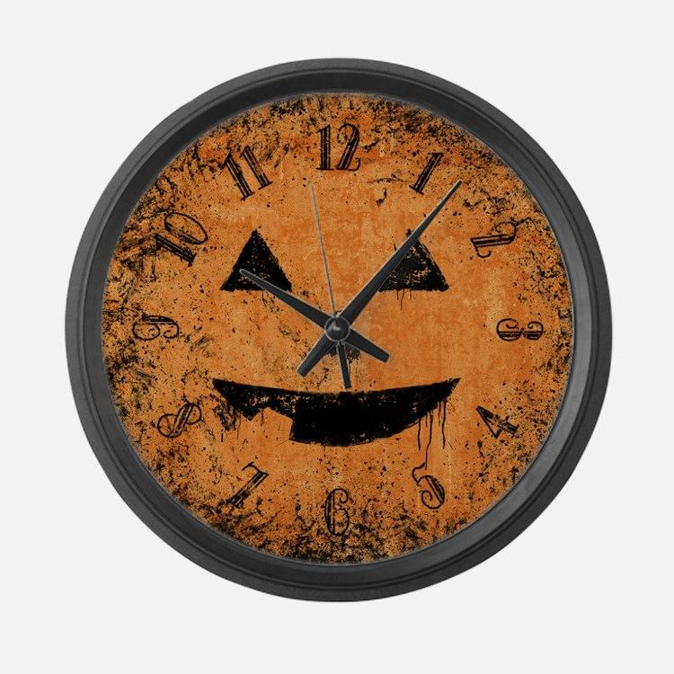 Grungy Pumpkin Face Large Wall Clock