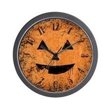Grungy Pumpkin Face Wall Clock