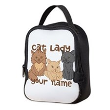Personalized Cat Lady Neoprene Lunch Bag