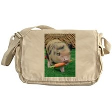 Micro pig with carrot Messenger Bag