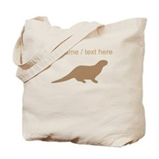 Personalized Brown Otter Silhouette Tote Bag