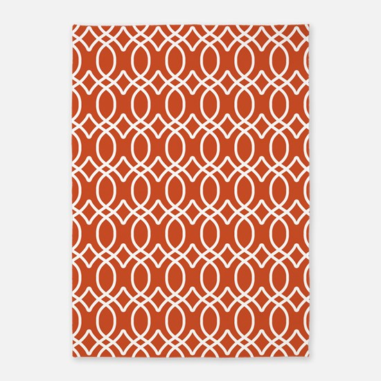 Pumpkin Orange Ogee Pattern 5'x7'Area Rug