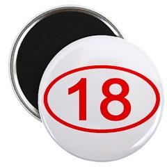 Number 18 Oval Magnet