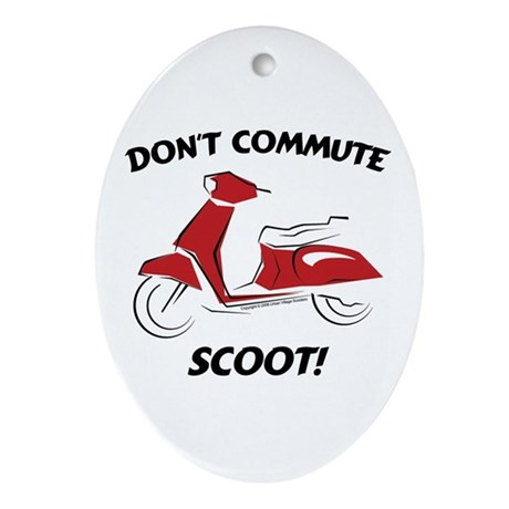 Don't Commute (Red) Oval Ornament