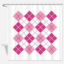 Pink Argyle Shower Curtain