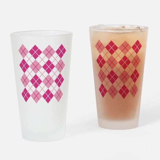 Pink Argyle Drinking Glass