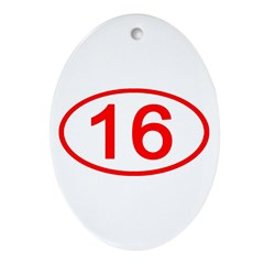 Number 16 Oval Oval Ornament