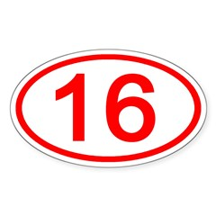 Number 16 Oval Oval Decal