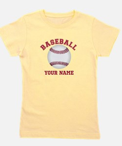 Personalized Name Baseball Girl's Tee