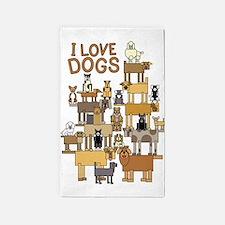 I LOVE DOGS 3'x5' Area Rug