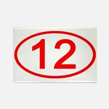 Number 12 Oval Rectangle Magnet