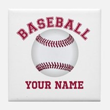 Personalized Name Baseball Tile Coaster