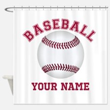 Personalized Name Baseball Shower Curtain