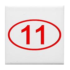 Number 11 Oval Tile Coaster