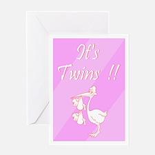 It's Twin Girls! Greeting Card