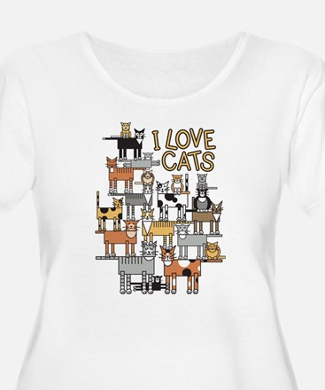 I LOVE CATS Plus Size T-Shirt